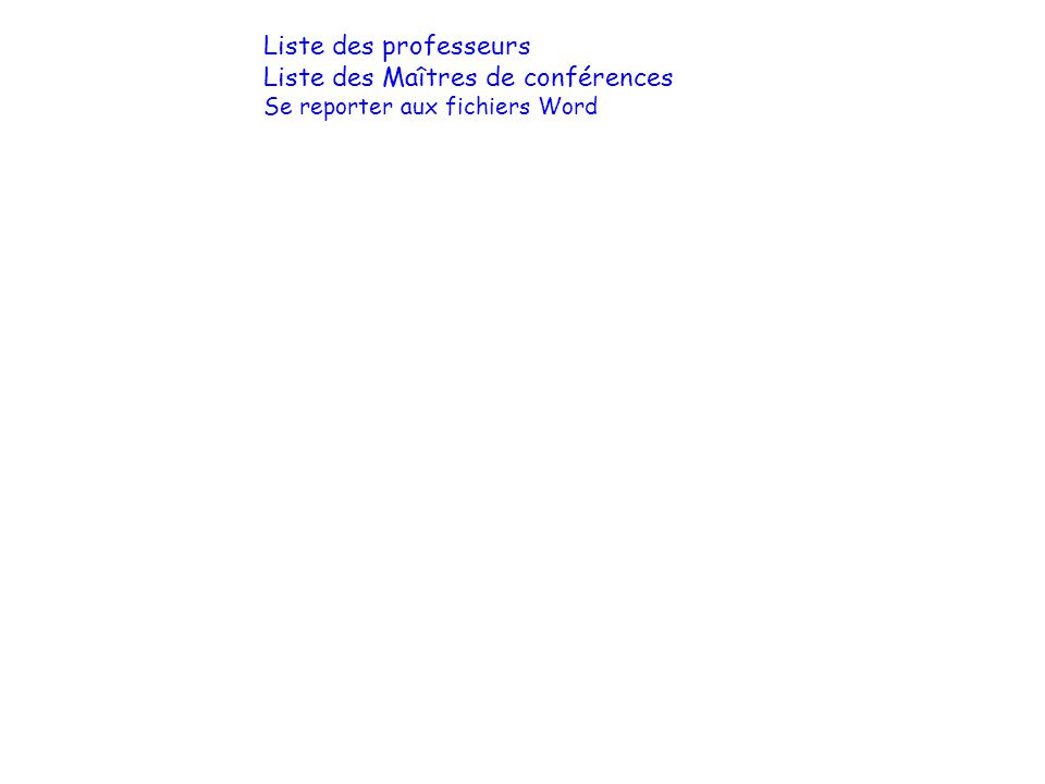 Liste des professeurs Liste des Maîtres de conférences Se reporter aux fichiers Word