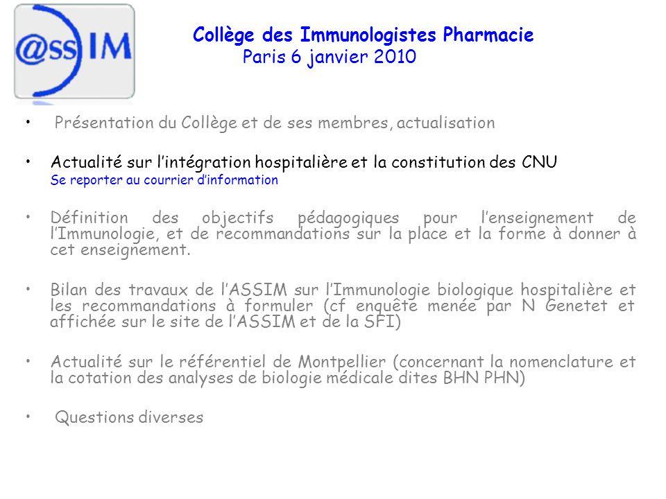 Quelques commentaires : - Hétérogénéité des pratiques entre les laboratoires - lImmunologie souffre de sa nature transversale - Des pans entiers de lImmunologie (immunohémato, Immunogénétique) se sont développés au sein de structures extra-hospitalières - Lexploration des Ig, bilans immuno en allergologie ne sont pas dévolus au labo dimmuno (1 CHU sur 3) - Compétences des immuno non contestées dans le domaine de limmunopathologie (MAI) - Ces compétences ne suffisent et les immunologistes se heurtent aux prérogatives des hématologistes sur la cellule sanguine, des microbiologistes sur lexploration de la réponse aux infections et de la vaccination, et des biochimistes sur les molécules de limmunité et de linflammation …..