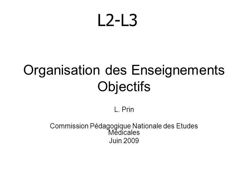 Organisation des Enseignements Objectifs L. Prin Commission Pédagogique Nationale des Etudes Médicales Juin 2009 L2-L3