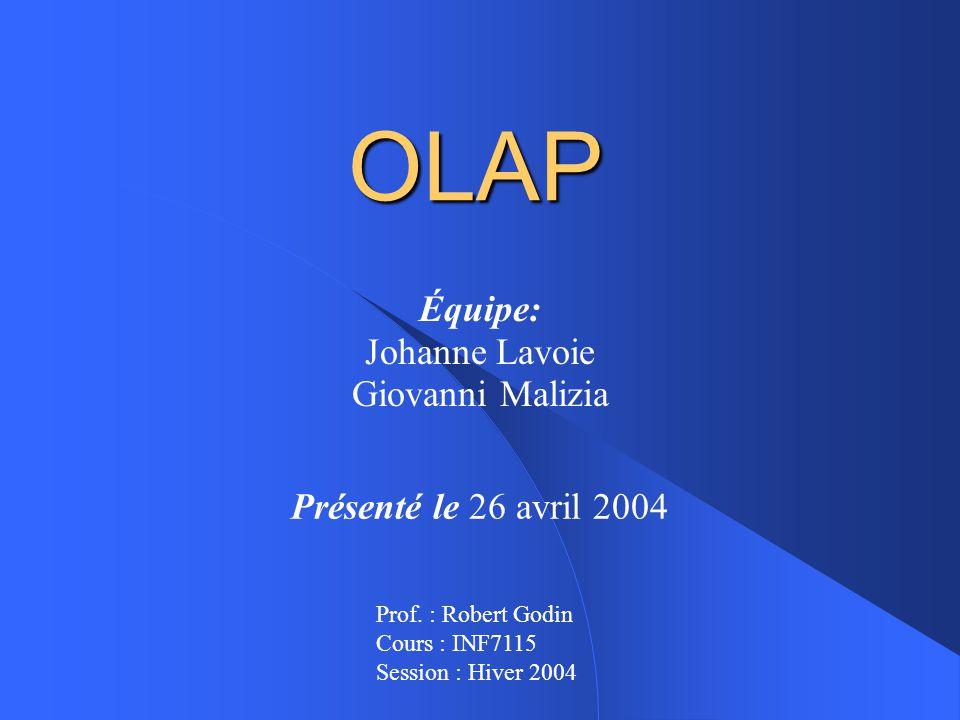 OLAP Équipe: Johanne Lavoie Giovanni Malizia Présenté le 26 avril 2004 Prof.