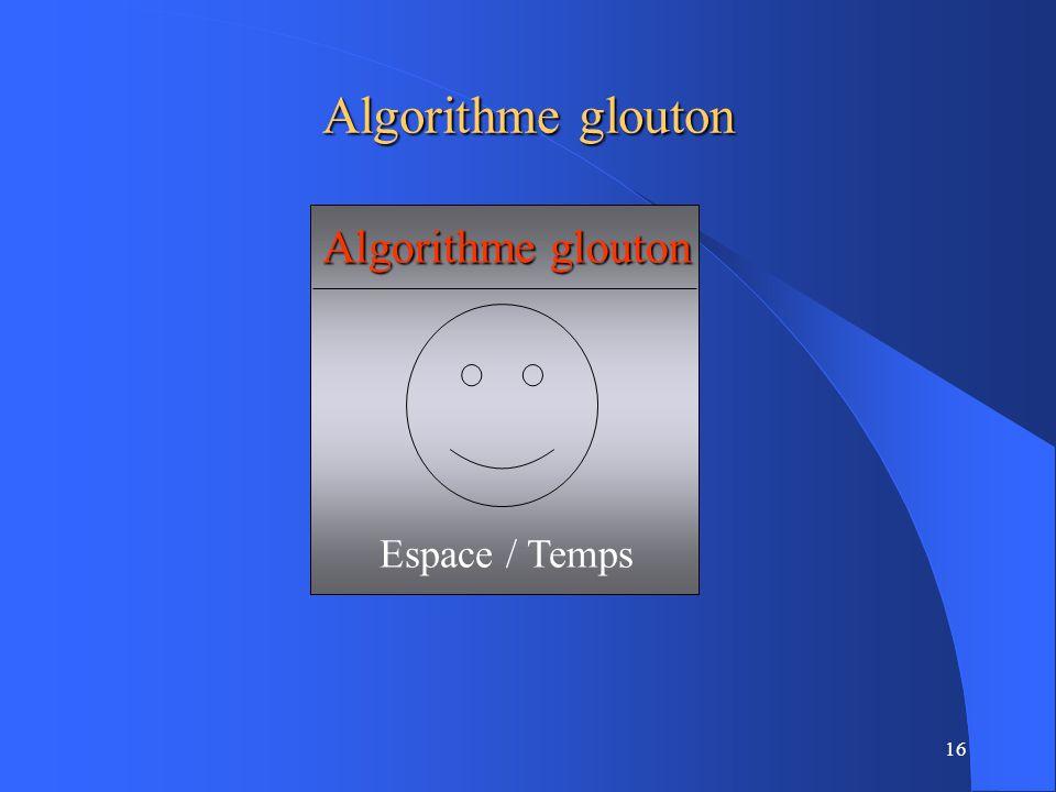 16 Algorithme glouton Espace / Temps Algorithme glouton
