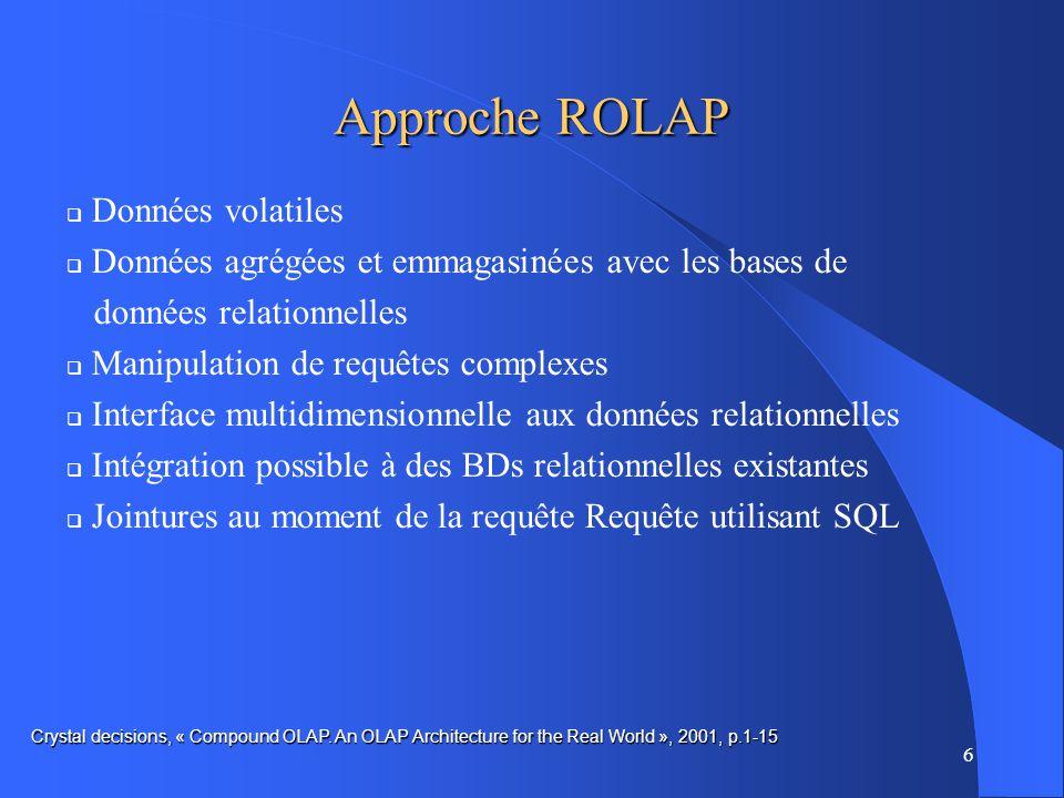 6 Approche ROLAP Données volatiles Données agrégées et emmagasinées avec les bases de données relationnelles Manipulation de requêtes complexes Interface multidimensionnelle aux données relationnelles Intégration possible à des BDs relationnelles existantes Jointures au moment de la requête Requête utilisant SQL Crystal decisions, « Compound OLAP.
