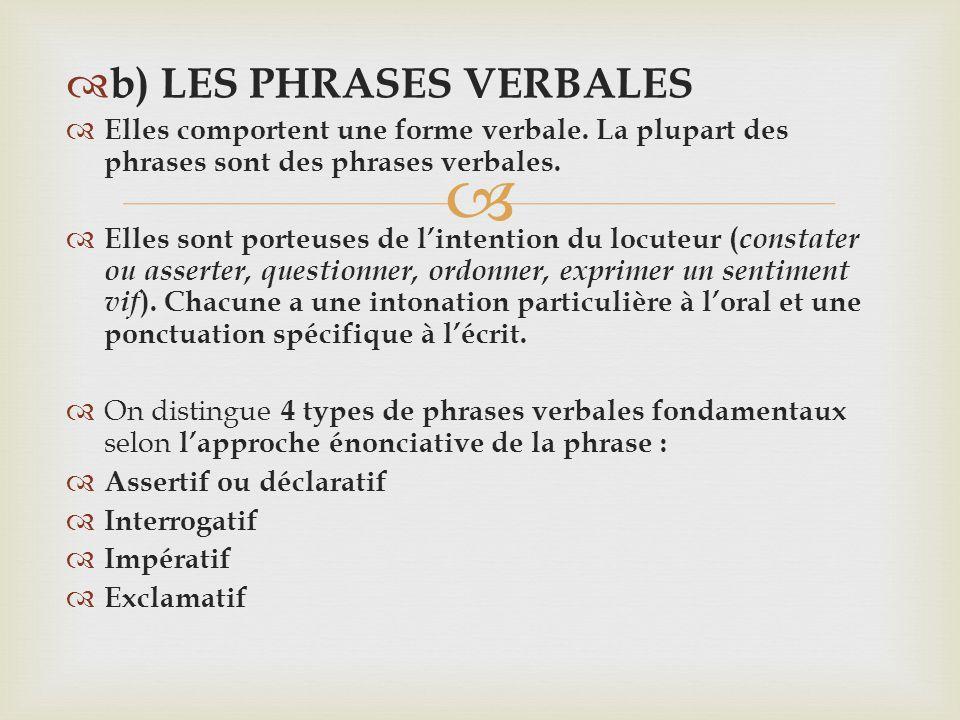 b) LES PHRASES VERBALES Elles comportent une forme verbale. La plupart des phrases sont des phrases verbales. Elles sont porteuses de lintention du lo