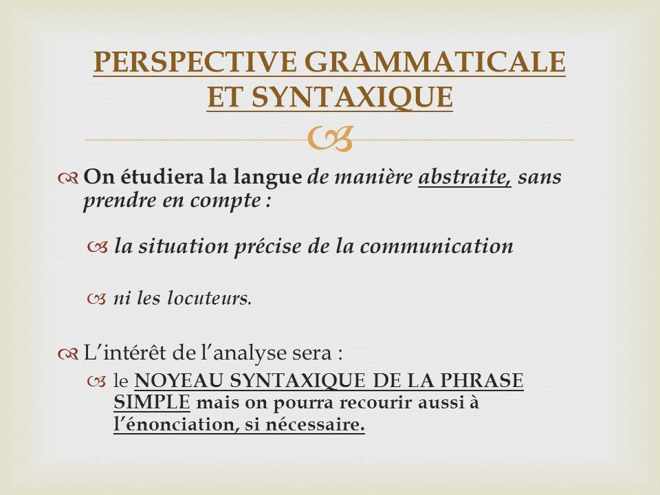 On étudiera la langue de manière abstraite, sans prendre en compte : la situation précise de la communication ni les locuteurs. Lintérêt de lanalyse s