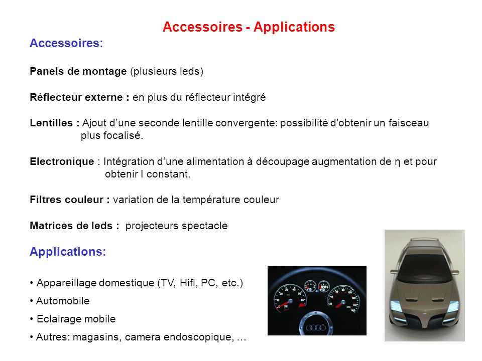 Accessoires - Applications Accessoires: Panels de montage (plusieurs leds) Réflecteur externe : en plus du réflecteur intégré Lentilles : Ajout dune s