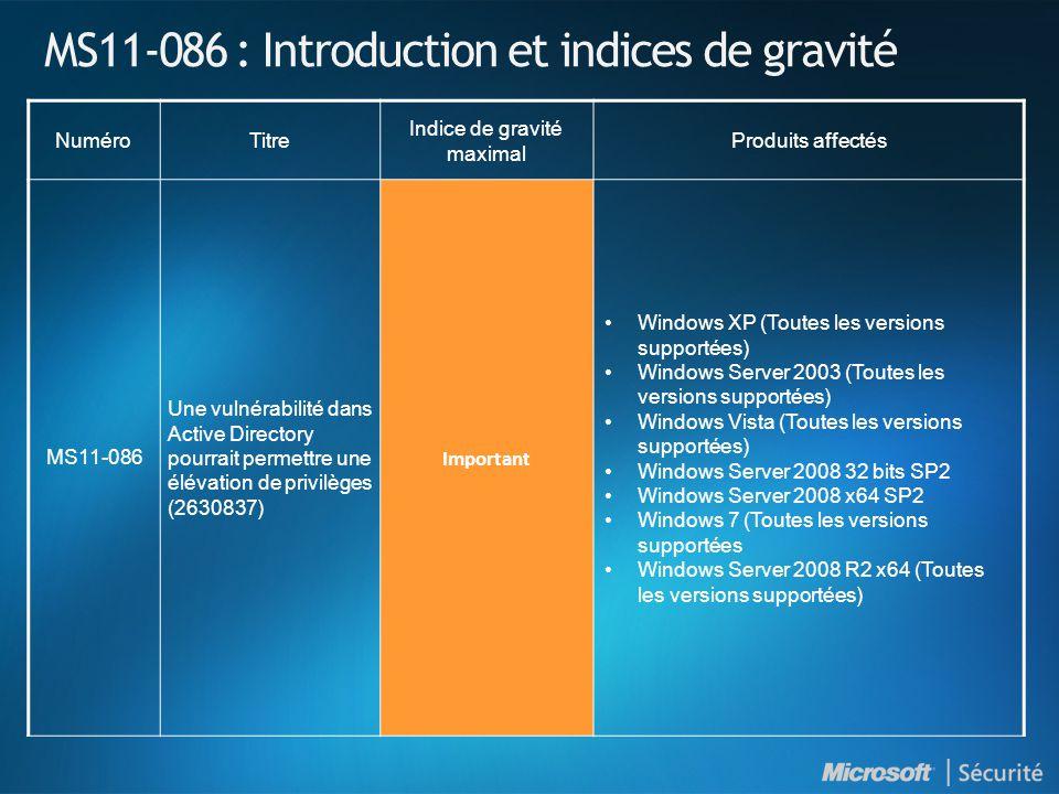 MS11-086 : Introduction et indices de gravité NuméroTitre Indice de gravité maximal Produits affectés MS11-086 Une vulnérabilité dans Active Directory