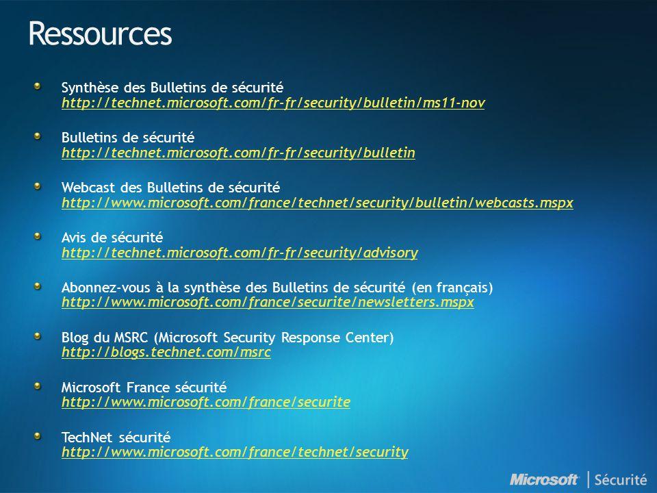 Ressources Synthèse des Bulletins de sécurité http://technet.microsoft.com/fr-fr/security/bulletin/ms11-nov http://technet.microsoft.com/fr-fr/securit