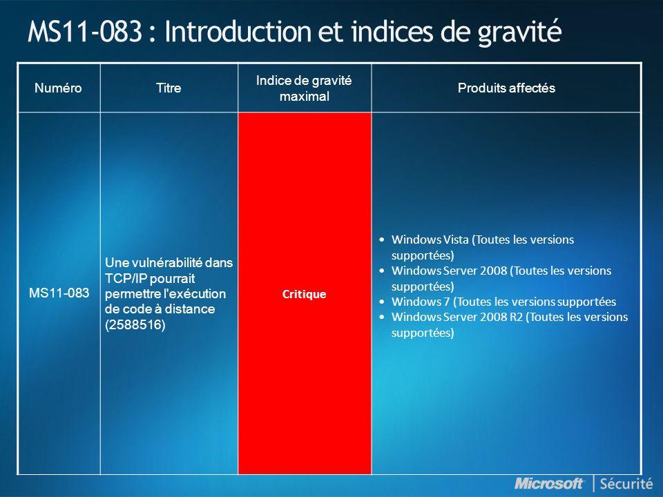 MS11-083 : Introduction et indices de gravité NuméroTitre Indice de gravité maximal Produits affectés MS11-083 Une vulnérabilité dans TCP/IP pourrait