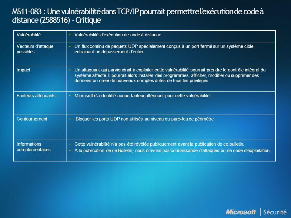 MS11-083 : Une vulnérabilité dans TCP/IP pourrait permettre l'exécution de code à distance (2588516) - Critique VulnérabilitéVulnérabilité dexécution