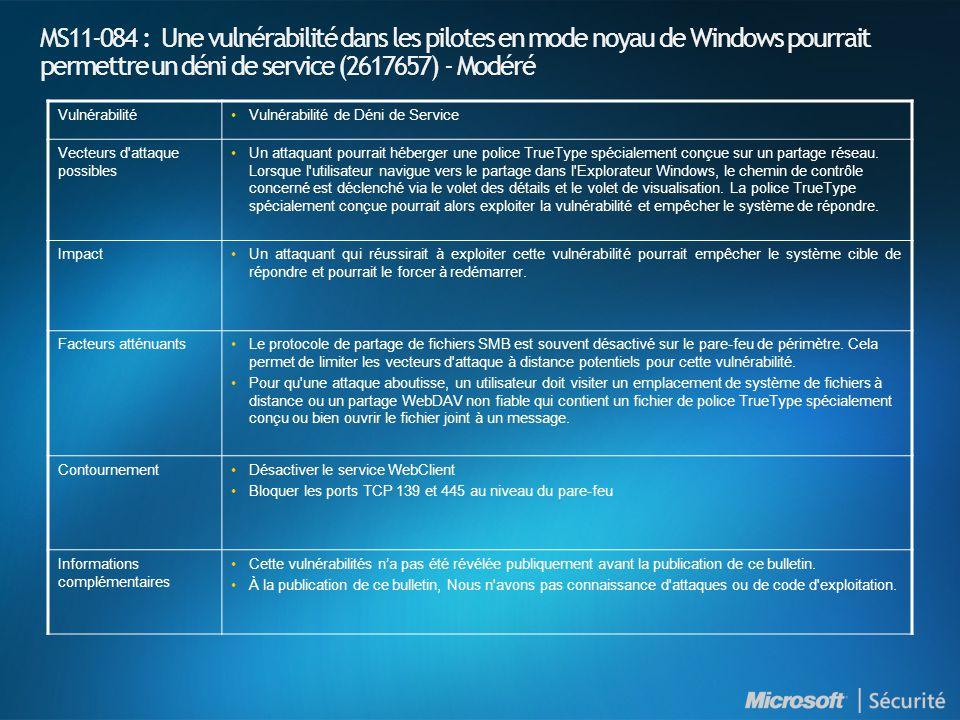 MS11-084 : Une vulnérabilité dans les pilotes en mode noyau de Windows pourrait permettre un déni de service (2617657) - Modéré VulnérabilitéVulnérabi