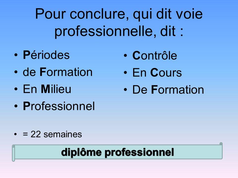 Pour conclure, qui dit voie professionnelle, dit : Périodes de Formation En Milieu Professionnel = 22 semaines Contrôle En Cours De Formation