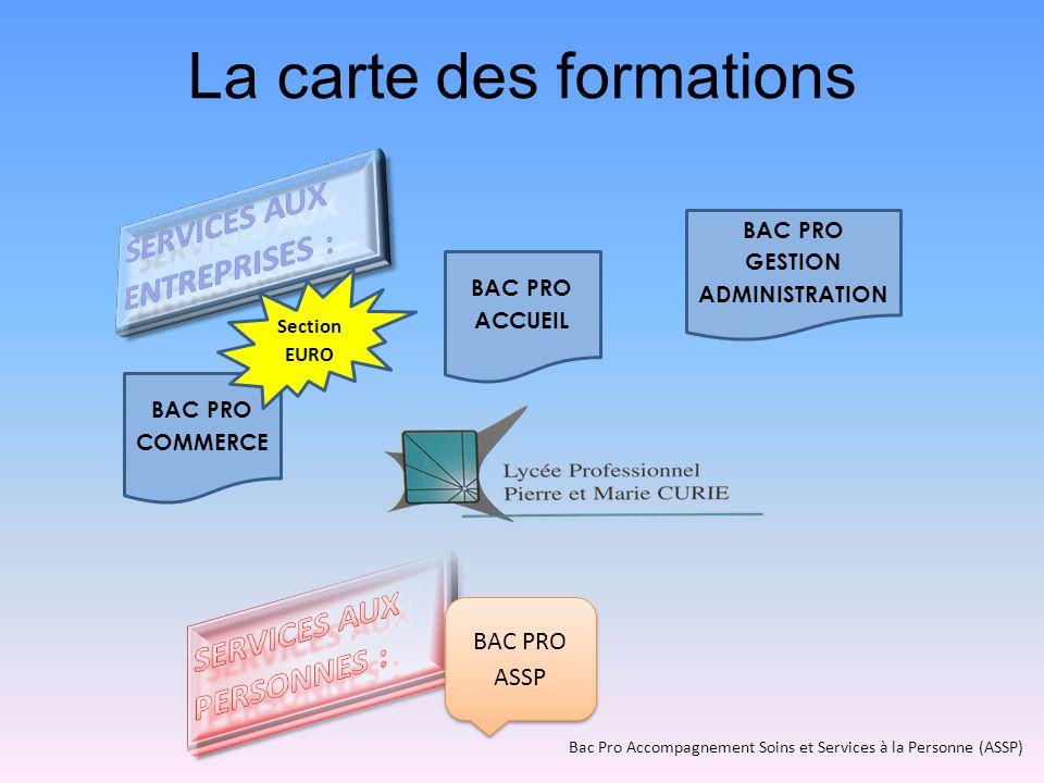 La carte des formations BAC PRO ASSP BAC PRO ACCUEIL BAC PRO COMMERCE Section EURO Bac Pro Accompagnement Soins et Services à la Personne (ASSP)