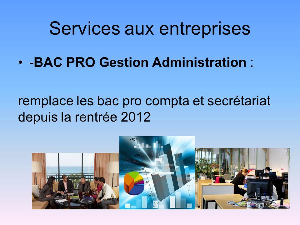 Services aux entreprises -BAC PRO Gestion Administration : remplace les bac pro compta et secrétariat depuis la rentrée 2012