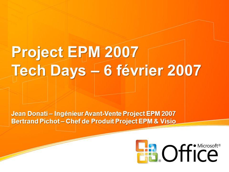 Project EPM 2007 Tech Days – 6 février 2007 Jean Donati – Ingénieur Avant-Vente Project EPM 2007 Bertrand Pichot – Chef de Produit Project EPM & Visio