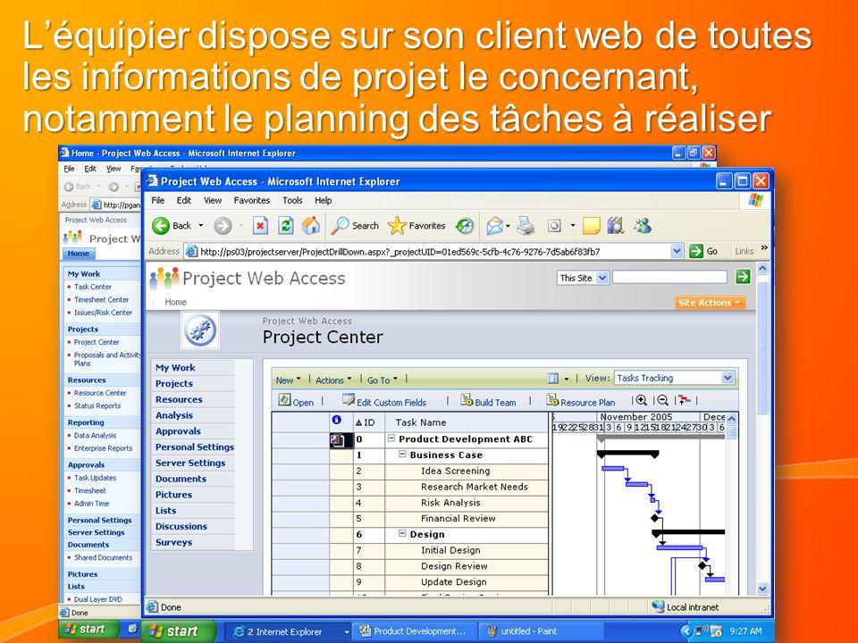 Léquipier dispose sur son client web de toutes les informations de projet le concernant, notamment le planning des tâches à réaliser