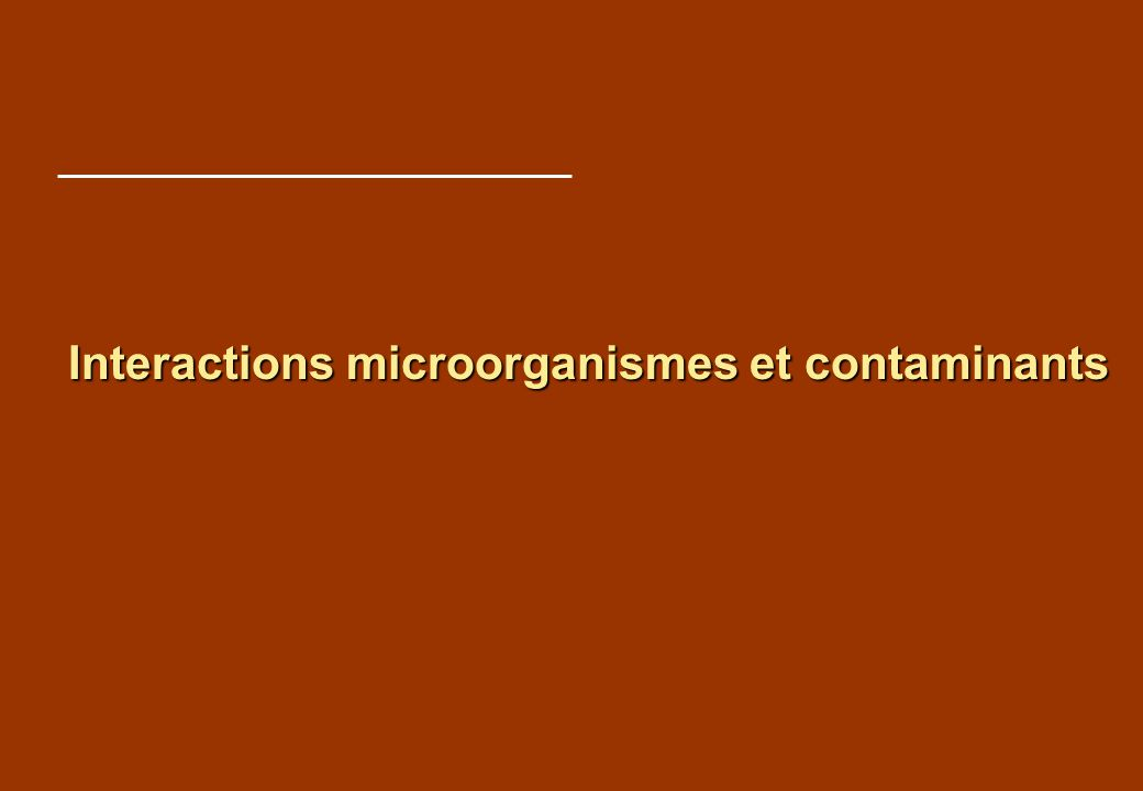 Interactions microorganismes et contaminants