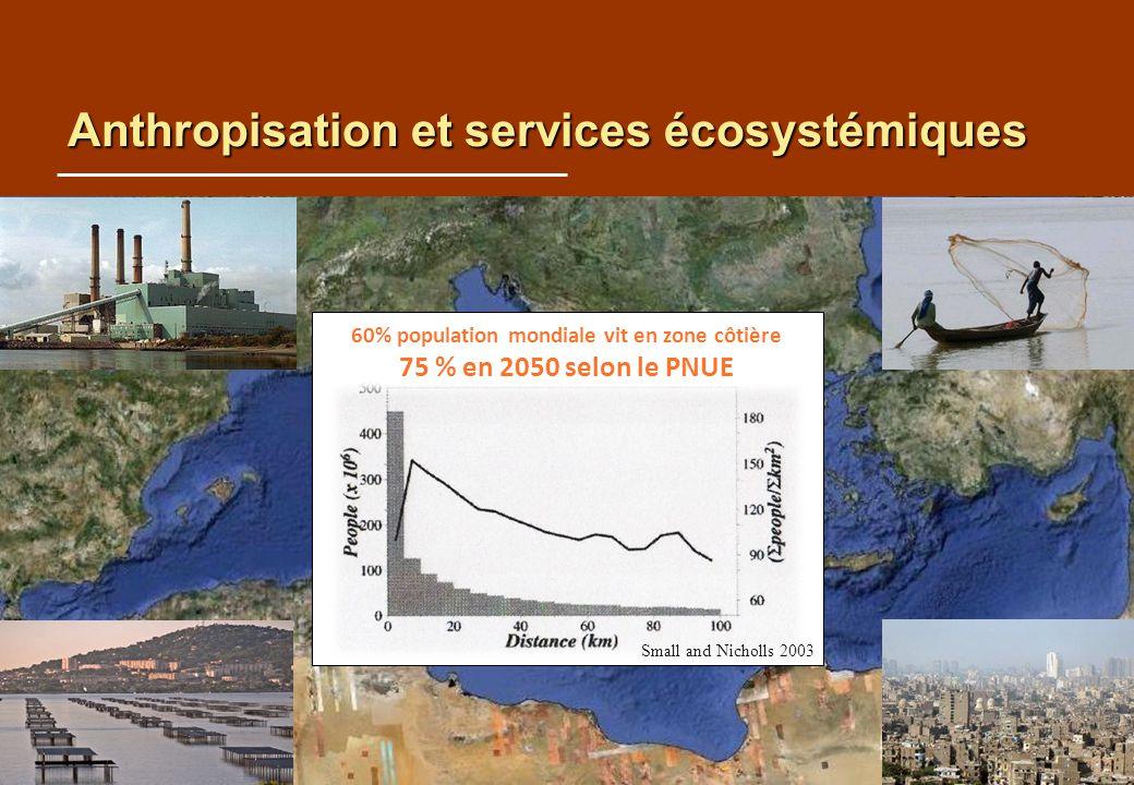 Anthropisation et services écosystémiques Small and Nicholls 2003 60% population mondiale vit en zone côtière 75 % en 2050 selon le PNUE