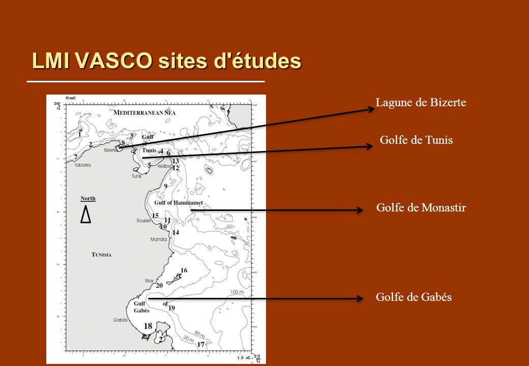LMI VASCO sites d'études Lagune de Bizerte Golfe de Tunis Golfe de Monastir Golfe de Gabés