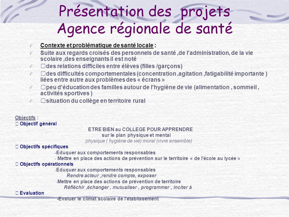 Présentation des projets Agence régionale de santé Contexte et problématique de santé locale : Suite aux regards croisés des personnels de santé,de l'