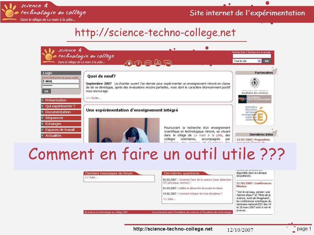 12/10/2007 http://science-techno-college.net page 2 S INSCRIRE : Pourquoi.