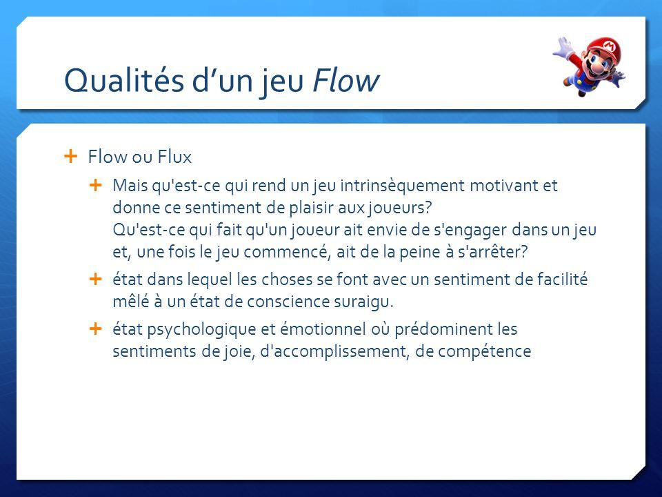 Qualités dun jeu Flow Flow ou Flux Mais qu'est-ce qui rend un jeu intrinsèquement motivant et donne ce sentiment de plaisir aux joueurs? Qu'est-ce qui