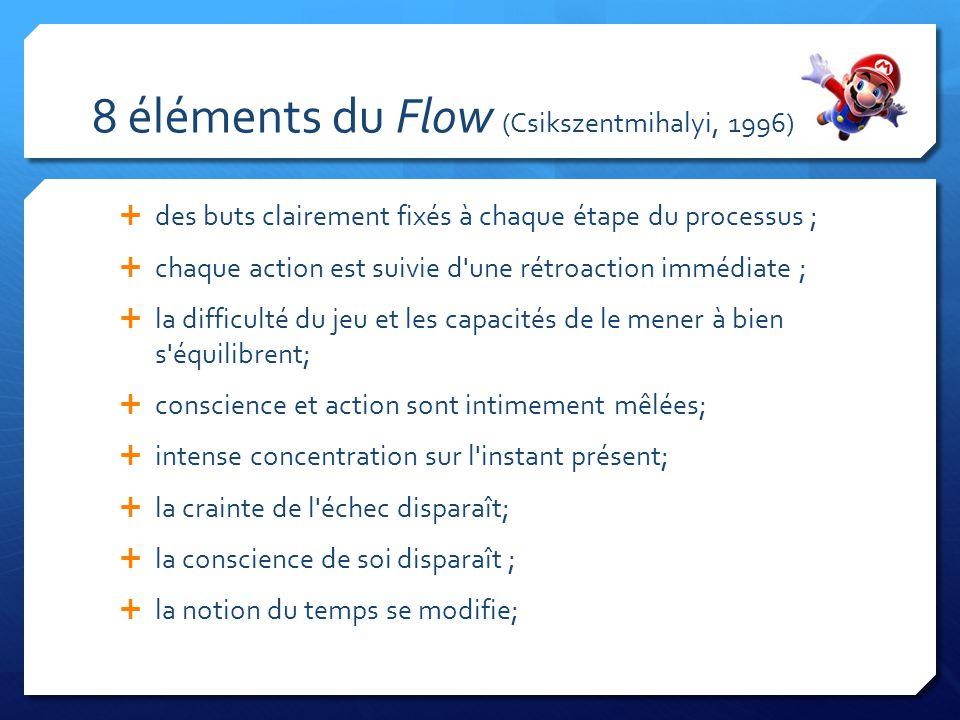 8 éléments du Flow (Csikszentmihalyi, 1996) des buts clairement fixés à chaque étape du processus ; chaque action est suivie d une rétroaction immédiate ; la difficulté du jeu et les capacités de le mener à bien s équilibrent; conscience et action sont intimement mêlées; intense concentration sur l instant présent; la crainte de l échec disparaît; la conscience de soi disparaît ; la notion du temps se modifie;