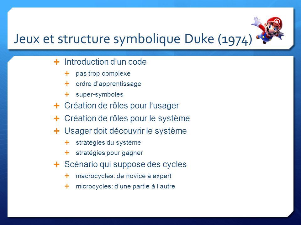 Jeux et structure symbolique Duke (74) Possibilité de transfert d apprentissage entre les jeux Favoriser l implication du joueur dans les jeux coopération ou compétition valorisation ou défense de lego récompense les actions de lusager méta-niveau permettant stratégie flexibilité fantaisie simple sans erreurs