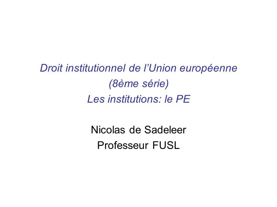Droit institutionnel de lUnion européenne (8ème série) Les institutions: le PE Nicolas de Sadeleer Professeur FUSL