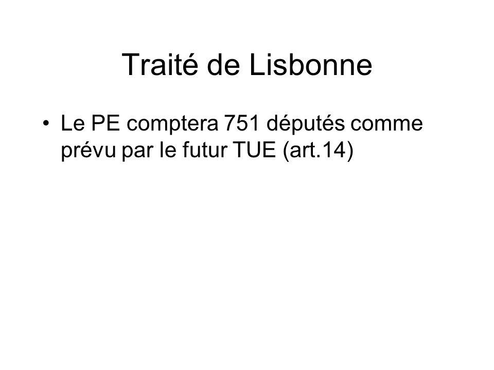 Traité de Lisbonne Le PE comptera 751 députés comme prévu par le futur TUE (art.14)