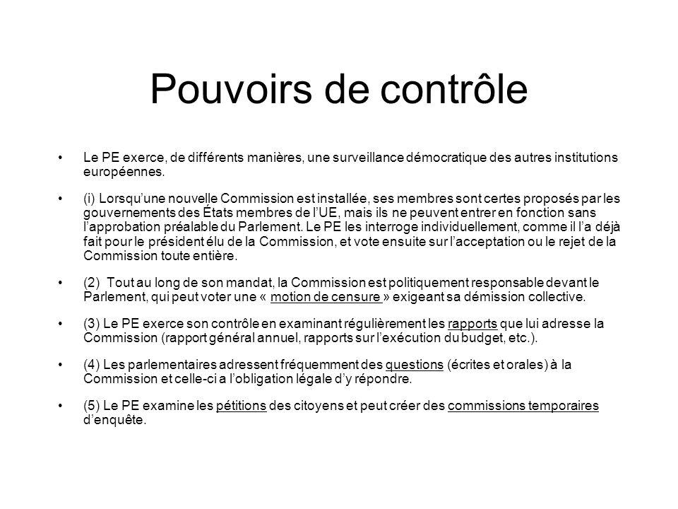 Pouvoirs de contrôle Le PE exerce, de différents manières, une surveillance démocratique des autres institutions européennes.