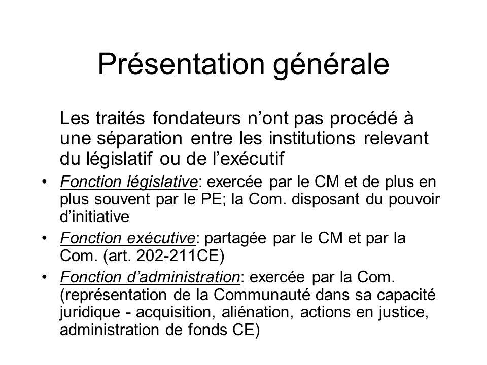 Présentation générale Les traités fondateurs nont pas procédé à une séparation entre les institutions relevant du législatif ou de lexécutif Fonction législative: exercée par le CM et de plus en plus souvent par le PE; la Com.