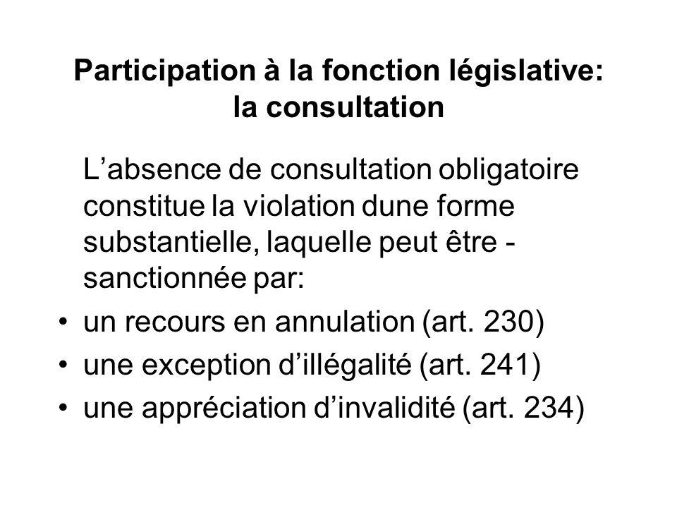 Participation à la fonction législative: la consultation Labsence de consultation obligatoire constitue la violation dune forme substantielle, laquelle peut être - sanctionnée par: un recours en annulation (art.