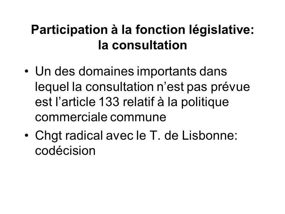 Participation à la fonction législative: la consultation Un des domaines importants dans lequel la consultation nest pas prévue est larticle 133 relatif à la politique commerciale commune Chgt radical avec le T.