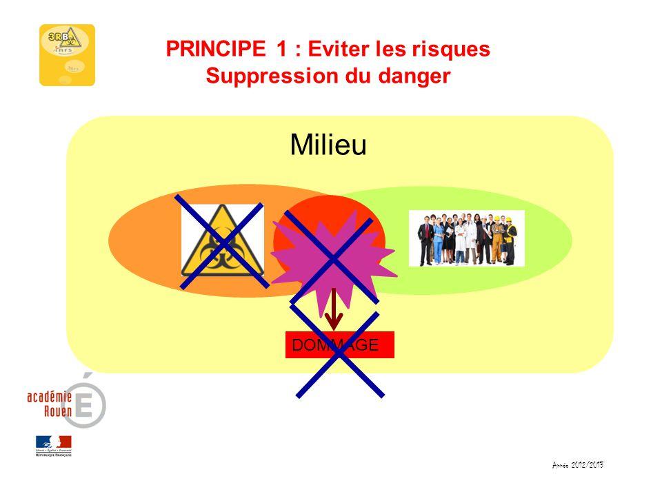 PRINCIPE 1 : Eviter les risques Suppression du danger Milieu DOMMAGE Année 2012/2013