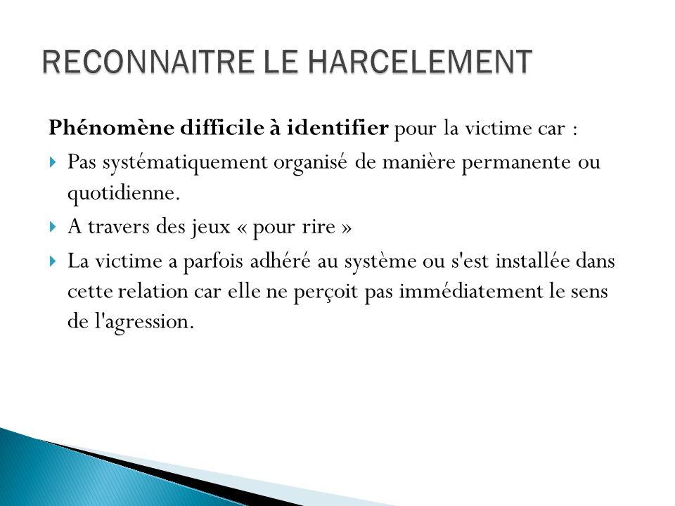 Phénomène difficile à identifier pour la victime car : Pas systématiquement organisé de manière permanente ou quotidienne. A travers des jeux « pour r