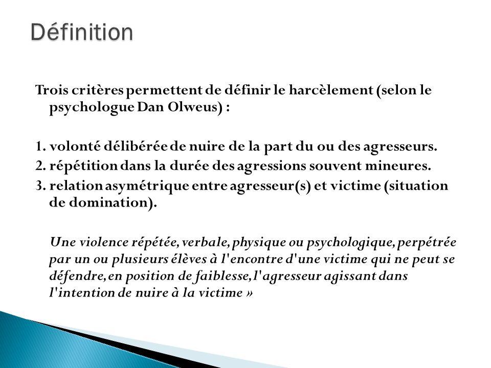 Trois critères permettent de définir le harcèlement (selon le psychologue Dan Olweus) : 1. volonté délibérée de nuire de la part du ou des agresseurs.