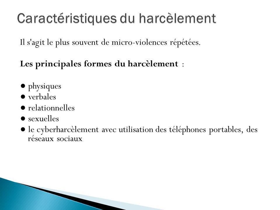 Il s'agit le plus souvent de micro-violences répétées. Les principales formes du harcèlement : physiques verbales relationnelles sexuelles le cyberhar