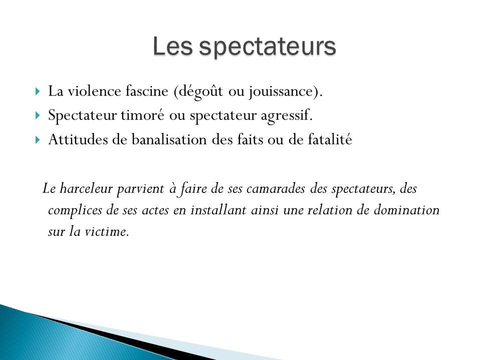 La violence fascine (dégoût ou jouissance). Spectateur timoré ou spectateur agressif. Attitudes de banalisation des faits ou de fatalité Le harceleur