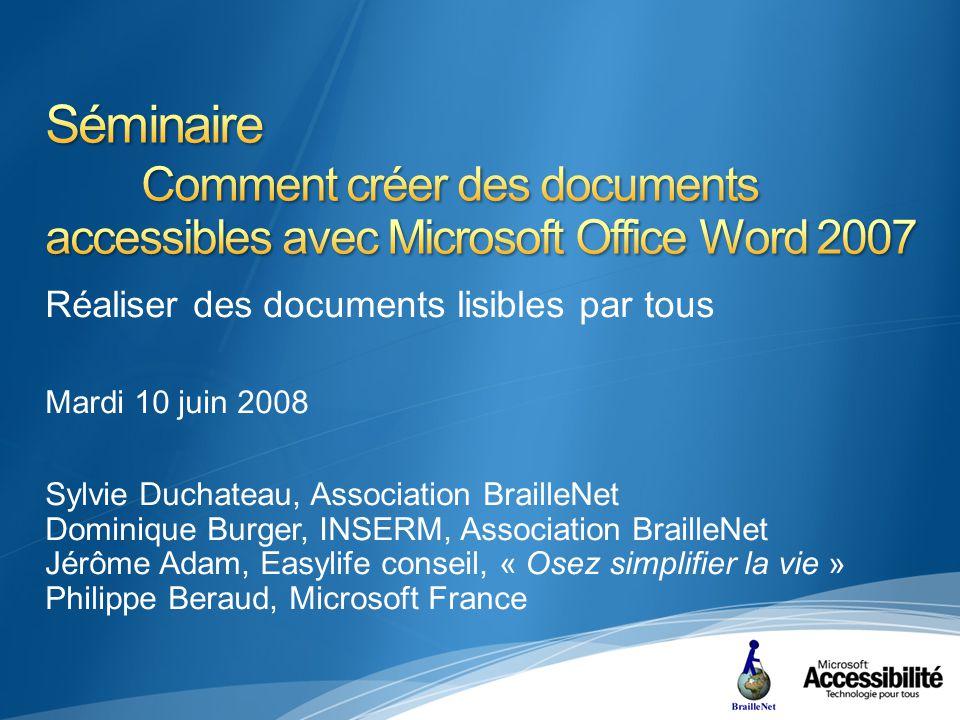 Publier en PDF Généralités Trois vues Vue physique Arbre des balises PDF Vue de contenu Procédure Suppose linstallation préalable dun complément Office « Complément de Microsoft Office 2007 : Enregistrement en PDF ou XPS dans Microsoft » http://www.microsoft.com/downloads/details.aspx?displaylang=f r&FamilyID=4d951911-3e7e-4ae6-b059-a2e79ed87041 Depuis le bouton Office, « Enregistrer sous », « PDF ou XPS » Publication en PDF/A