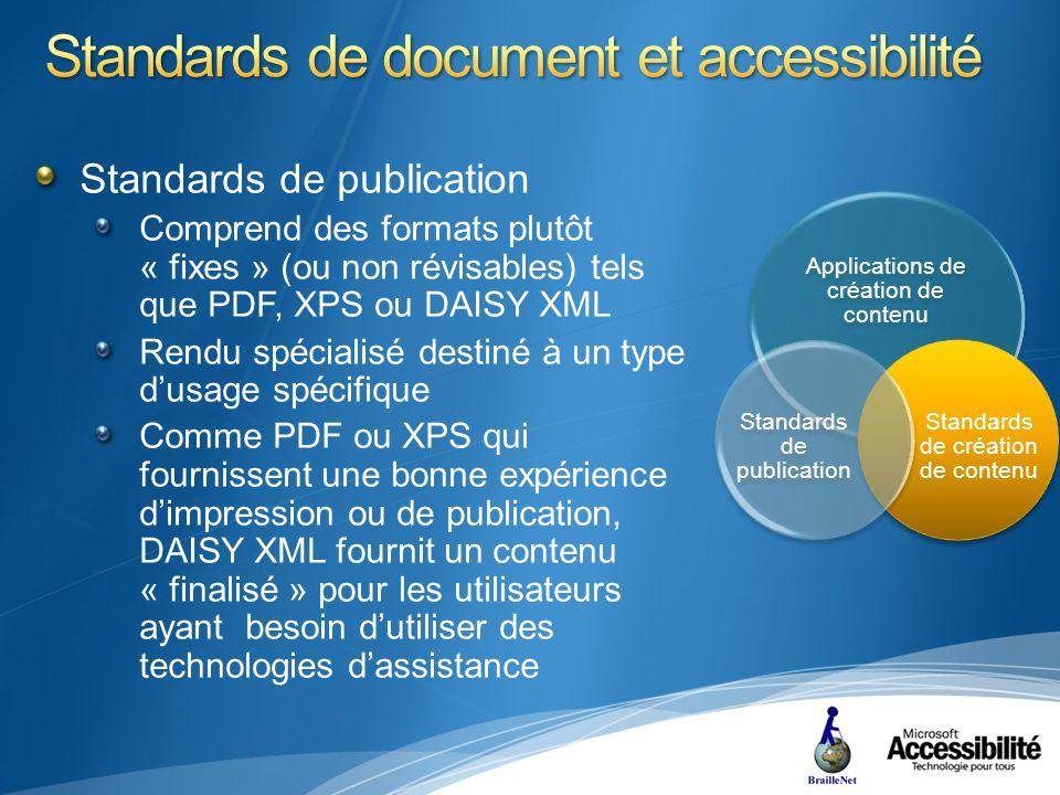 Comprend des formats plutôt « fixes » (ou non révisables) tels que PDF, XPS ou DAISY XML Rendu spécialisé destiné à un type dusage spécifique Comme PDF ou XPS qui fournissent une bonne expérience dimpression ou de publication, DAISY XML fournit un contenu « finalisé » pour les utilisateurs ayant besoin dutiliser des technologies dassistance Applications de création de contenu Standards de création de contenu Standards de publication