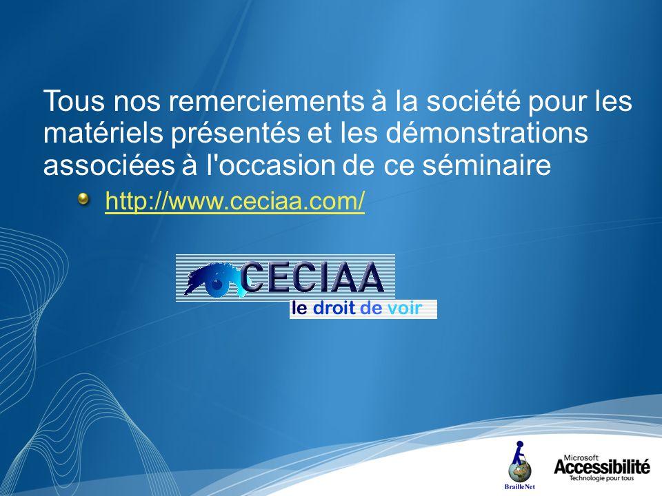 Tous nos remerciements à la société pour les matériels présentés et les démonstrations associées à l occasion de ce séminaire http://www.ceciaa.com/