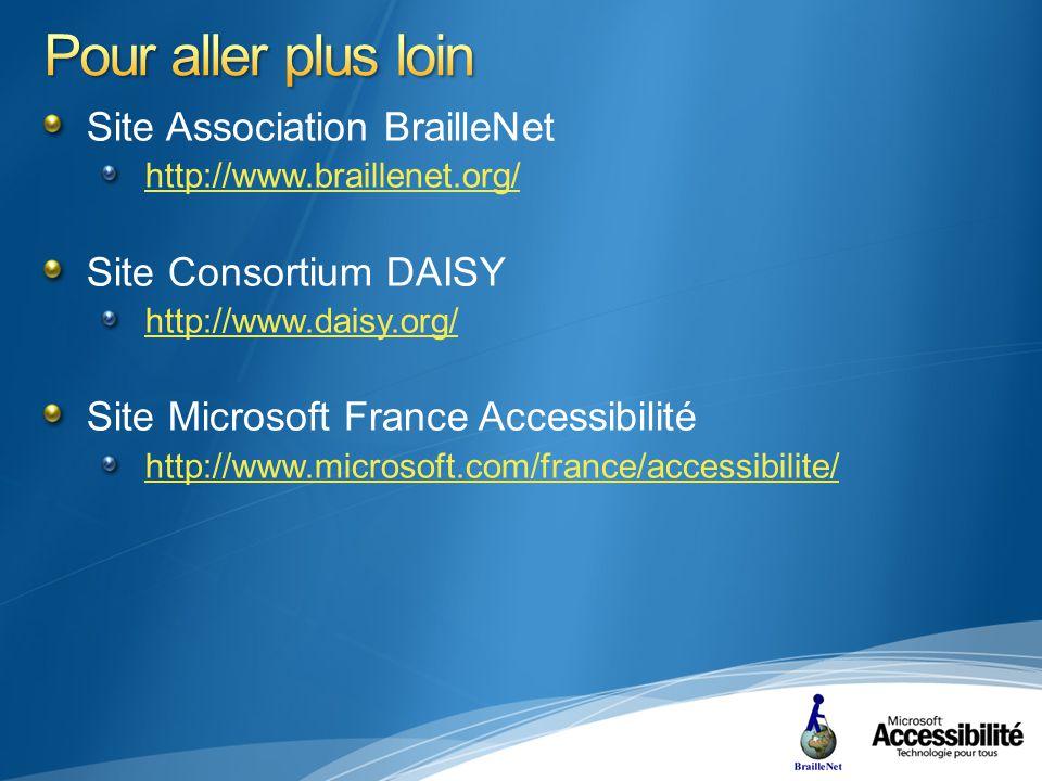 Site Association BrailleNet http://www.braillenet.org/ Site Consortium DAISY http://www.daisy.org/ Site Microsoft France Accessibilité http://www.microsoft.com/france/accessibilite/