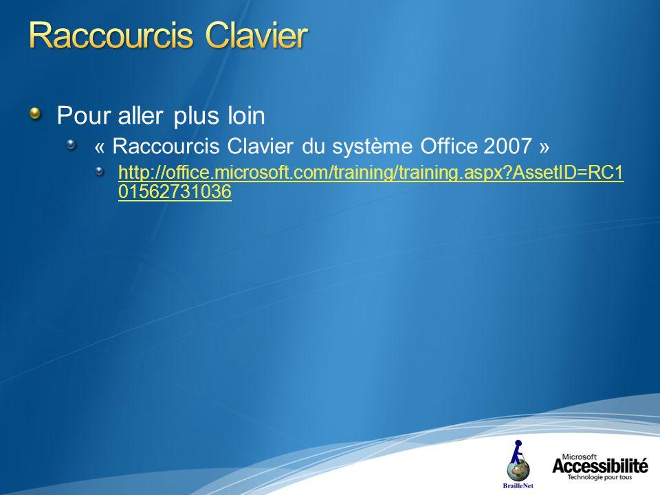 Pour aller plus loin « Raccourcis Clavier du système Office 2007 » http://office.microsoft.com/training/training.aspx AssetID=RC1 01562731036