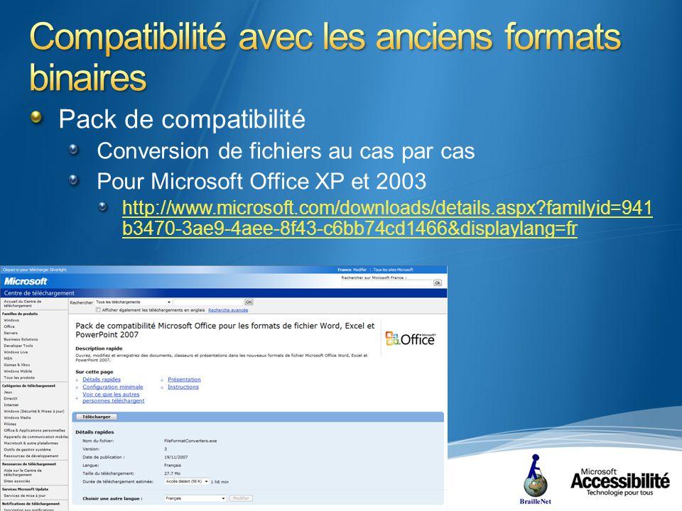 Pack de compatibilité Conversion de fichiers au cas par cas Pour Microsoft Office XP et 2003 http://www.microsoft.com/downloads/details.aspx familyid=941 b3470-3ae9-4aee-8f43-c6bb74cd1466&displaylang=fr