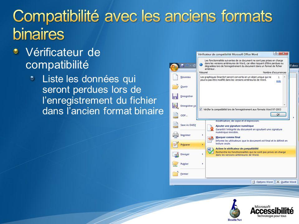 Vérificateur de compatibilité Liste les données qui seront perdues lors de lenregistrement du fichier dans lancien format binaire