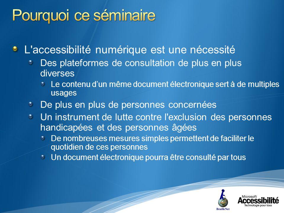 L accessibilité numérique est une nécessité Elle garantit non seulement un accès égal à tous mais contribue également à la qualité, lergonomie et à la facilité dutilisation Cf.