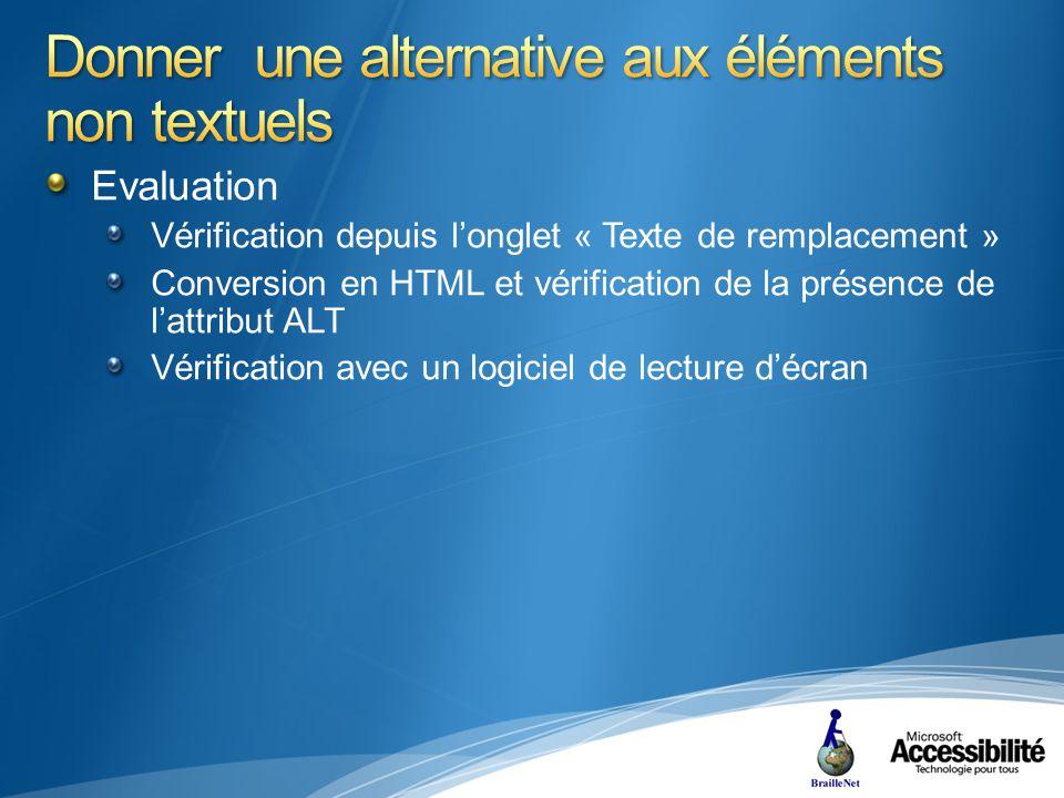 Evaluation Vérification depuis longlet « Texte de remplacement » Conversion en HTML et vérification de la présence de lattribut ALT Vérification avec un logiciel de lecture décran