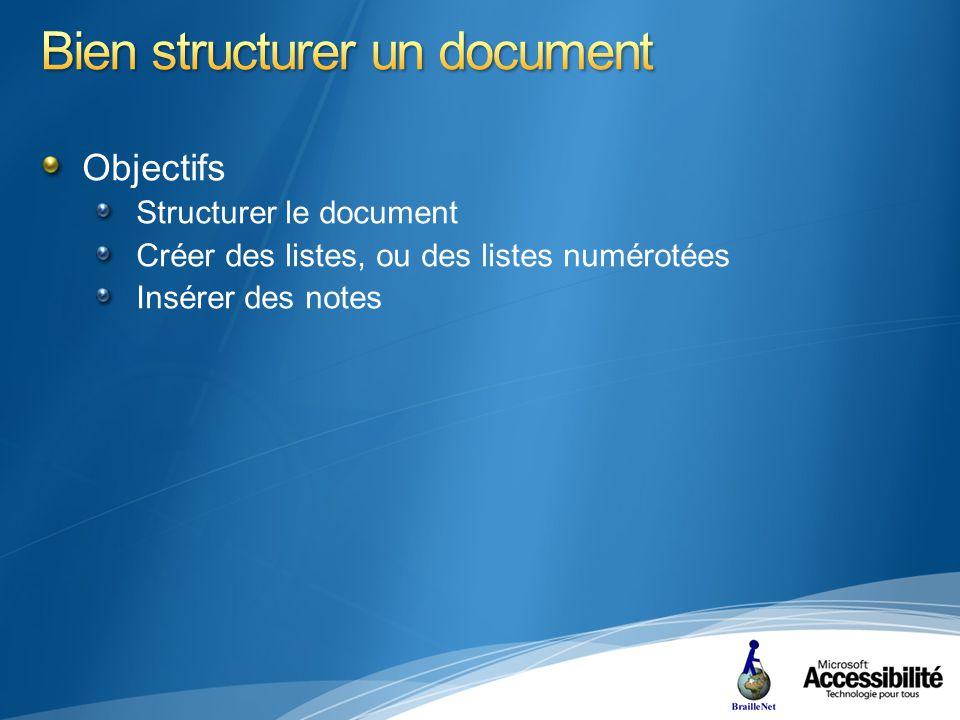 Objectifs Structurer le document Créer des listes, ou des listes numérotées Insérer des notes