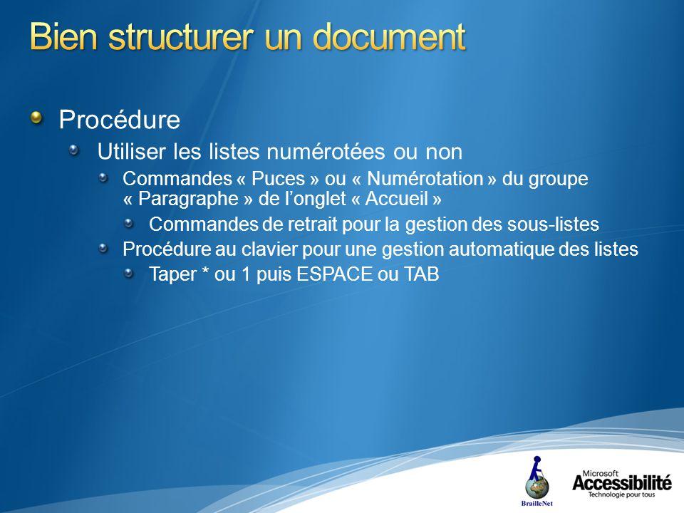 Procédure Utiliser les listes numérotées ou non Commandes « Puces » ou « Numérotation » du groupe « Paragraphe » de longlet « Accueil » Commandes de retrait pour la gestion des sous-listes Procédure au clavier pour une gestion automatique des listes Taper * ou 1 puis ESPACE ou TAB