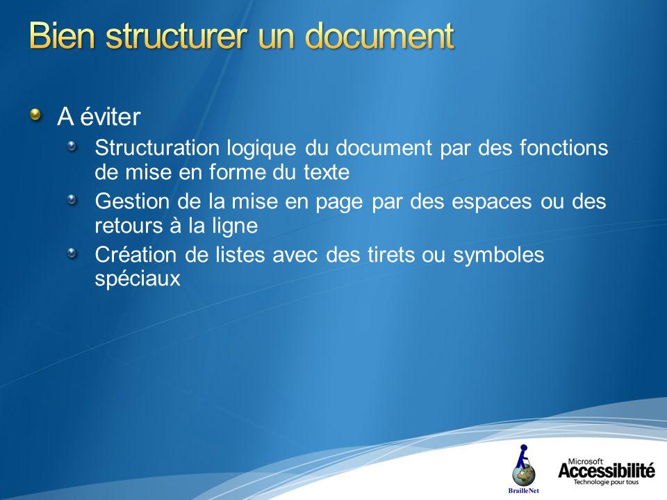 A éviter Structuration logique du document par des fonctions de mise en forme du texte Gestion de la mise en page par des espaces ou des retours à la ligne Création de listes avec des tirets ou symboles spéciaux